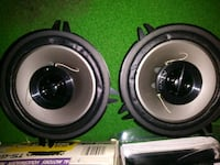 two black-and-gray subwoofers