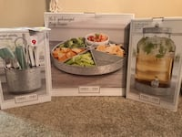 Fiddle + Fern Home Essentials. Brand new! All 3 together retail for over $120. Awesome Christmas gifts!! Lazy Susan - reg retail $51 Drink dispenser - reg retail - $39 Utensil Caddy - reg retail - $36  $75 for all 3!!!  Virginia Beach, 23452