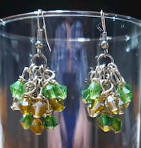 Shades-of-Green Grape Cluster earrings