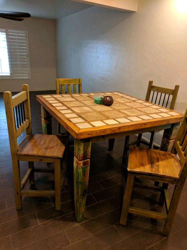 Custom Dining Table With Travertine Top