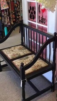 Vintage black distressed finish foldable bench with original tapestry upholstery  Fresno, 93722