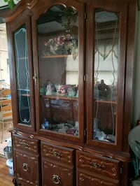 brown wooden framed glass display cabinet New Providence, 07974