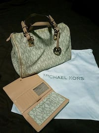 white and brown Michael Kors tote bag 1471 mi