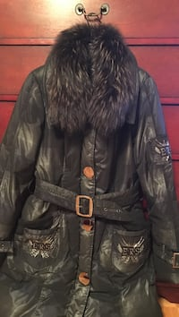 Black long coat with real down and fox fur size m