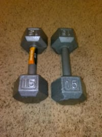 two black fixed weight dumbbells Red Wing, 55066