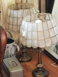Capiz shade lamps from the 70's two clear glass base table lamps