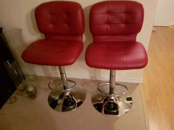 Surprising Two Red Leather Bar Stools Alphanode Cool Chair Designs And Ideas Alphanodeonline