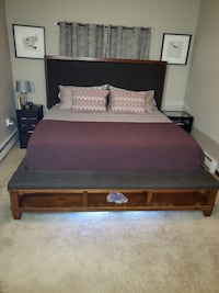 King size upholstered panel bed