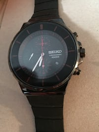 Black strap seiko analog chronograph watch
