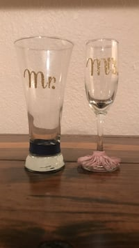 clear-and-gold Mr. and Mrs. printed glasses Brownsville, 78526