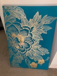Lhasa Lotus embroidered teal and gold wall art Reisterstown, 21136