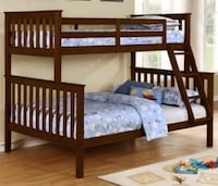 Twin full bunk bed frame brown or white  Elgin