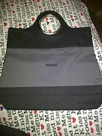 gray and black Kohler handbag