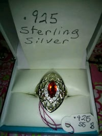 silver and red gemstone ring Inverness