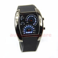 Fashion Men Black Stainless Steel Luxury Sport Analog Quartz LED Wrist Watch x1