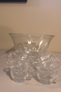Punch bowl set with 9 cups.  No chips/cracks.