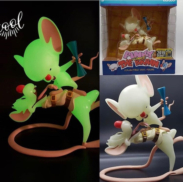 Pinky and the Brain Radioactive Glow in the Dark Vinyl Figure Convention Exc.