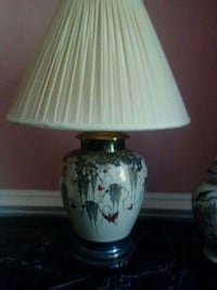 white and green floral ceramic base table lamp
