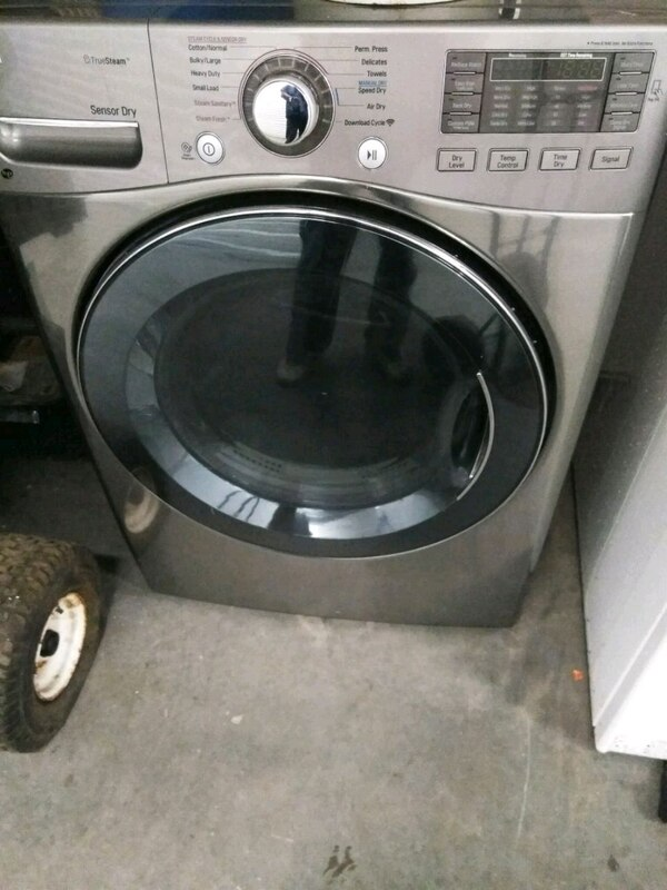 gray LG front-load clothes washer