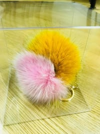 pink and beige fur ball keychain