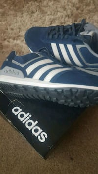 pair of blue-and-white Adidas sneakers null, LN4 4YA