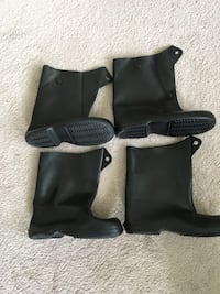 """Galoshes overshoe boot covers, heavy duty rubber, 12"""" high, 2 pair, 1 large 1 medium, made in the USA, new Lansdale, 19446"""