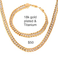18k gold filled and titanium necklace and bracelet new Houston, 77066