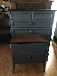 Gray and brown wooden nightstand and dresser Fayetteville, 28314