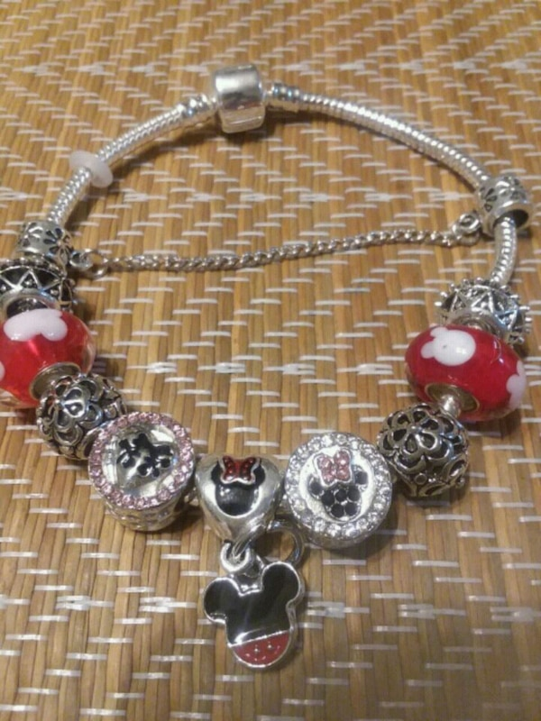 Beautiful Mickey And Minnie Mouse Charm Bracelet