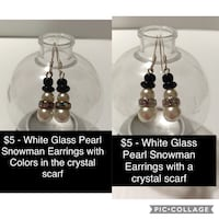 $5 each . Handmade Glass Pearl Snowman Earrings with a rhinestone scarf .I can also ship . Pickup in Chicago Harlem and Addison I am also posting more earring and real hand made Pearl Jewelry. 577 mi
