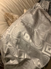 2 silver patterned curtain panels 3151 km