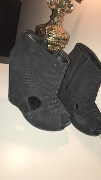 Black peep-toe side-zip wedge booties