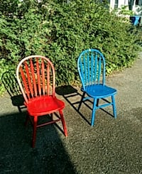 two red and blue metal armchairs Baltimore, 21289