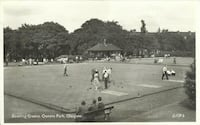 Vintage Postcard Bowling Green Queens Park Glasgow B&W Posted Real Photo  Posted - Red ER 2 1/2 Rex stamp as per pic  -  please see photos for depiction of condition  -  makes a great display piece Newmarket