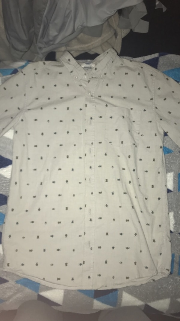 Boys Gray Bugs Button Up