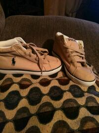 pair of white-and-brown low top sneakers..size 3 boys