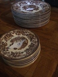 White and brown hand painted China from England 1950s Bunker Hill, 25413