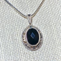 Antique Art Deco Sterling Silver Black Onyx Pendant with Sterling Chain