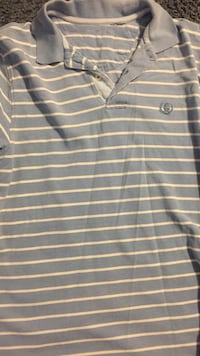 gray and white striped polo shirt