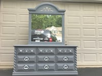 Lea Furniture Solid Wood 9 Drawer Long Dresser With Mirror Gray With White Handles  Manassas, 20112