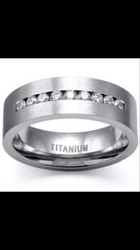 Mens Absolutely Stunning High Grade Quality Australian Crystals Inlaid In Titanium Comfort Fit Polished To Perfection ,Durable ,Very Classy Mens Wedding Band  Phoenix, 85016