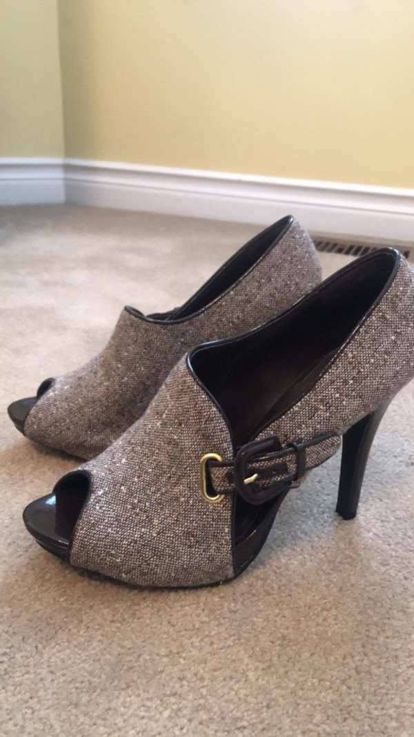pair of gray glittered platform stilettos