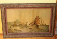 """Large old Chromolithograph """"Fishing boats off the coast in Rough seas"""" Wellesley Hills"""