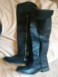 pair of black leather knee-high boots Edmonton, T5A 1T3