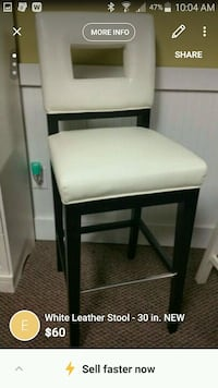 White Leather Stool - 30 in. NEW Hilliard, 43026