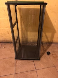 Jewelry display case with glass shelves