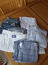 Men's jeans and shorts. 3 pairs of jeans and 9 pairs of shorts.  MCHENRY
