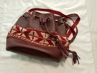 Handmade leather and Rug shoulder bag Oslo, 0585