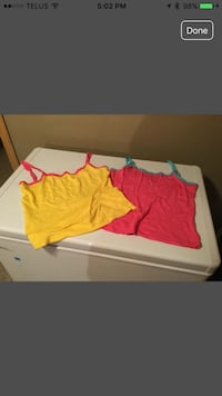 Yellow and pink spaghetti strap top.