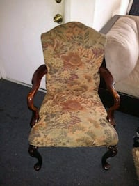 brown wooden framed beige floral padded armchair New York, 10011